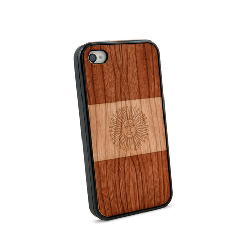 Argentina Flag Natural Wooden iPhone 4/4S Case in American Cherry Wood