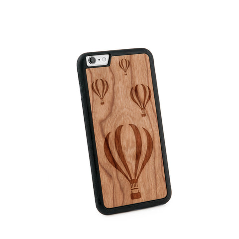 Air Balloons Natural Wooden Iphone 6+ Case in American Cherry Wood