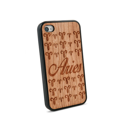 Aries Text Natural Wooden iPhone 4/4S Case in American Cherry Wood