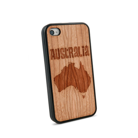Australia Text Natural Wooden iPhone 4/4S Case in American Cherry Wood