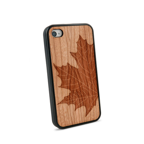 Autumn Leaf Natural Wooden iPhone 4/4S Case in American Cherry Wood