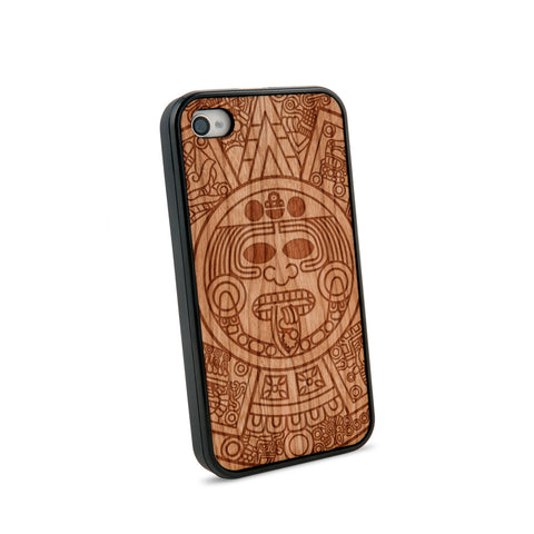 Aztec Calendar Natural Wooden iPhone 4/4S Case in American Cherry Wood
