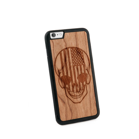 American Flag Skull Natural Wooden Iphone 6+ Case in American Cherry Wood