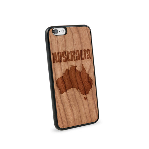 Australia Text Natural Wooden iPhone 6 Case in American Cherry Wood