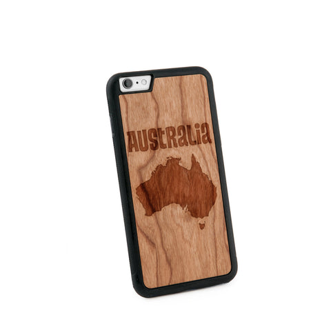 Australia Text Natural Wooden Iphone 6+ Case in American Cherry Wood