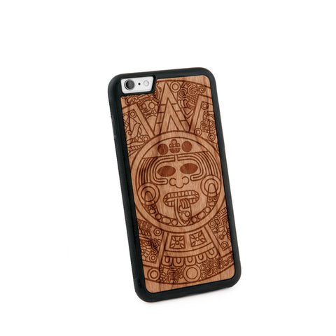 Aztec Calendar Natural Wooden Iphone 6+ Case in American Cherry Wood