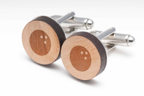 Bowling Ball Wood Cufflinks