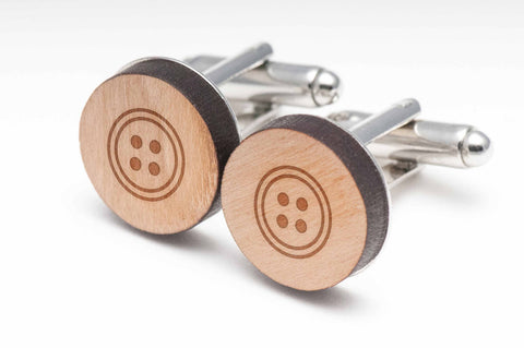 Button Wood Cufflinks