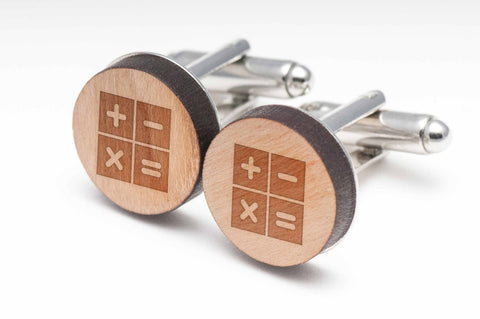 Calculator Functions Wood Cufflinks