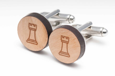 Chess Rook Wood Cufflinks
