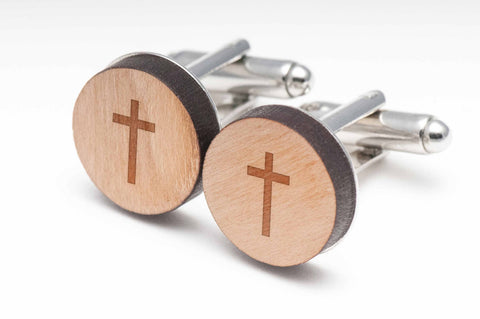 Christian Cross Wood Cufflinks