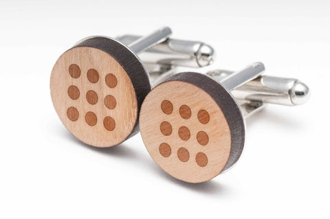 Circle Grid Wood Cufflinks