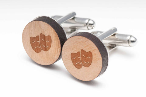 Drama Masks Wood Cufflinks