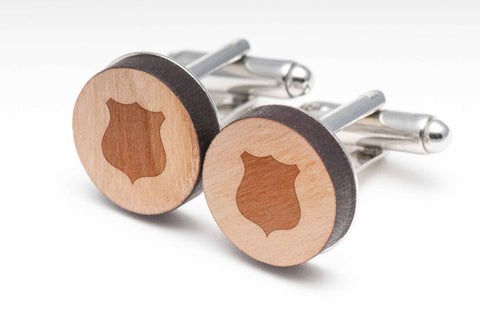 Fire Badge Wood Cufflinks