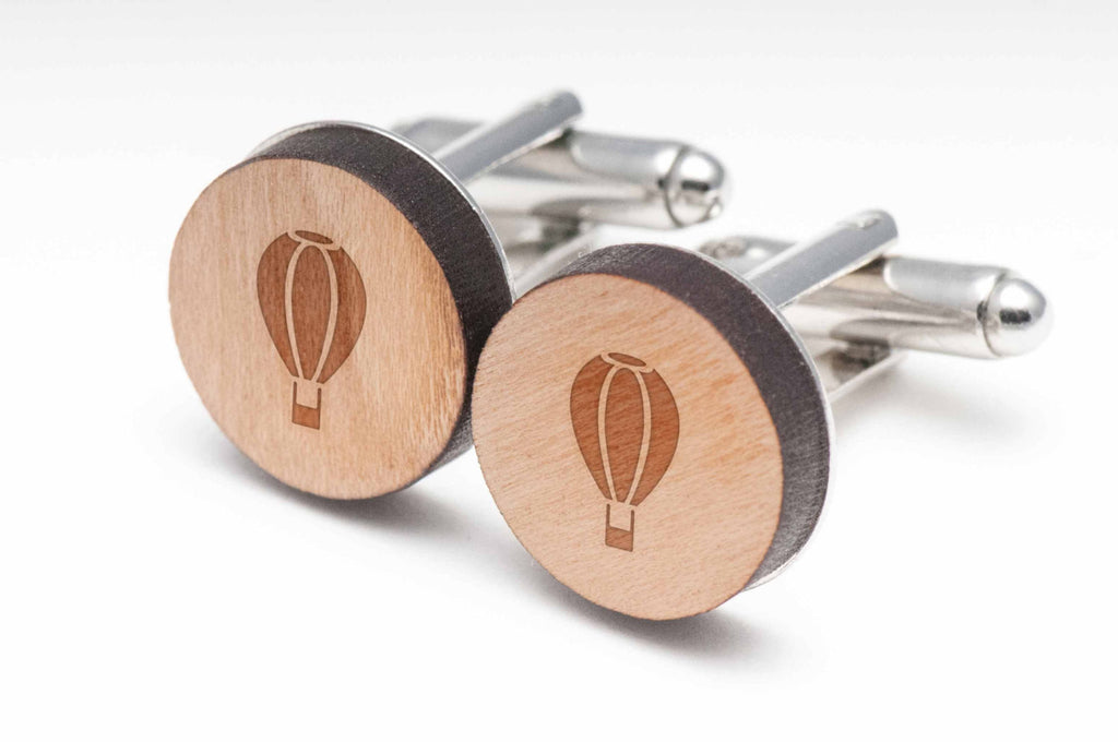 Hot Air Balloon Wood Cufflinks