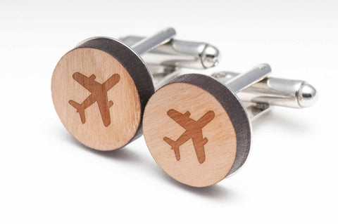 Jumbo Airplane Wood Cufflinks
