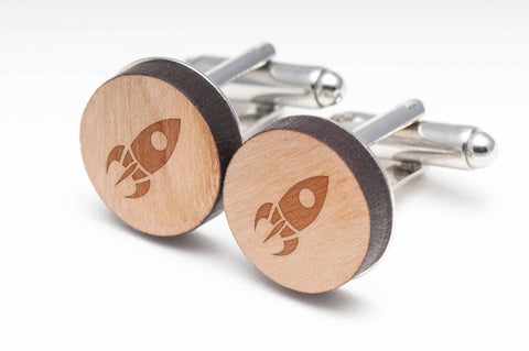 Rocket Ship Wood Cufflinks