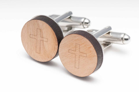 Roman Cross Wood Cufflinks