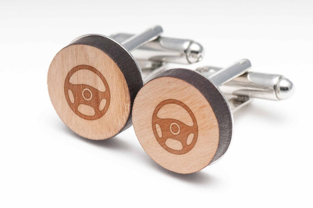 Steering Wheel Wood Cufflinks