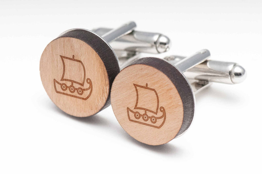 Viking Ship Wood Cufflinks