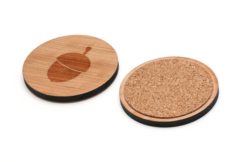 Acorn Wooden Coasters Set of 4