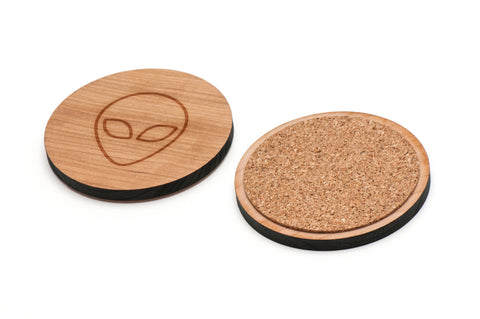Alien Wooden Coasters Set of 4