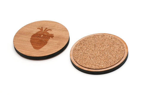 Anatomical Heart Wooden Coasters Set of 4