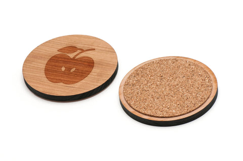 Apple Wooden Coasters Set of 4