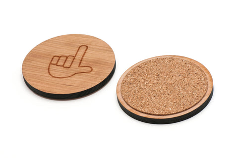 Asl L Wooden Coasters Set of 4