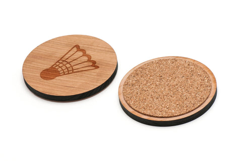 Badminton Ball Wooden Coasters Set of 4