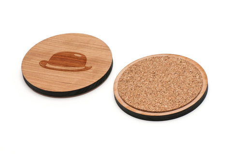 Bowler Hat Wooden Coasters Set of 4