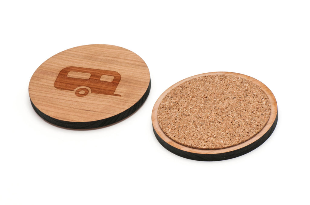 Camper Trailer Wooden Coasters Set of 4