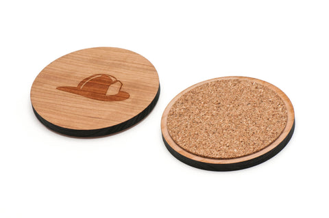 Fire Helmet Wooden Coasters Set of 4