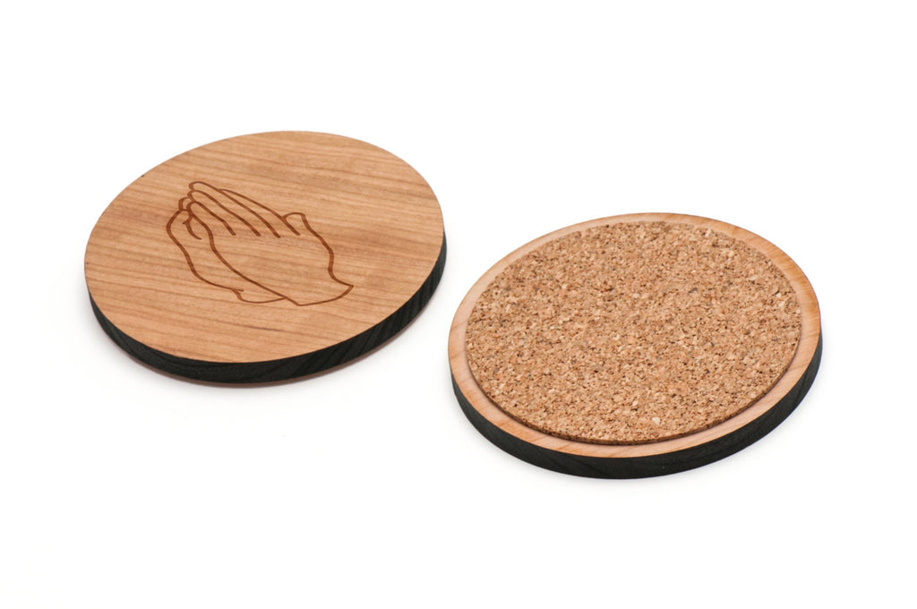 Praying Hands Wooden Coasters Set of 4