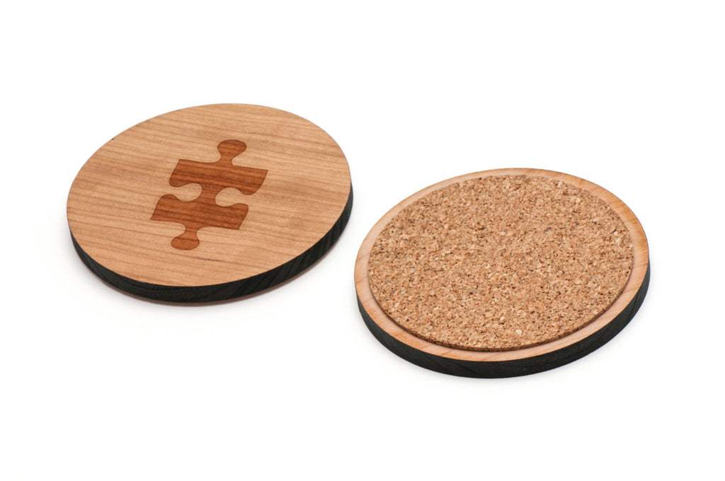 Puzzle Piece Wooden Coasters Set of 4