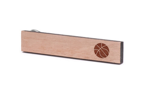 Basketball Wood Tie Clip