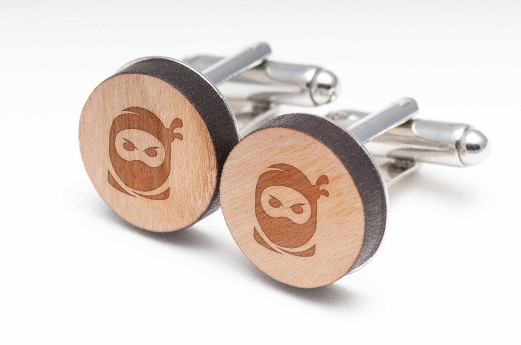 Ninja Face Wood Cufflinks