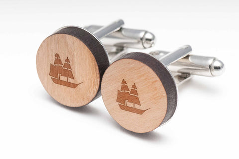 Pirate Ship Wood Cufflinks