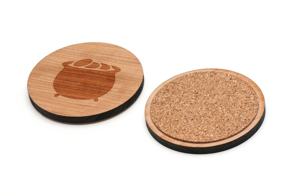 Pot Of Gold Wooden Coasters Set of 4