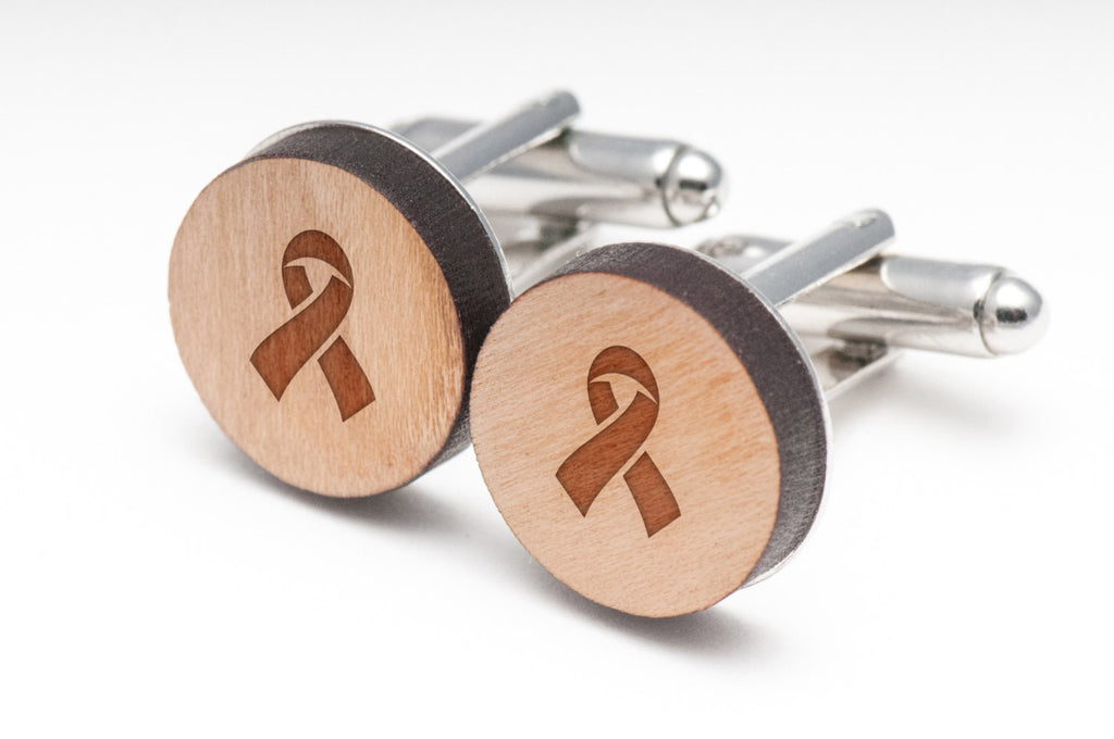 AIDS Ribbon Wood Cufflinks