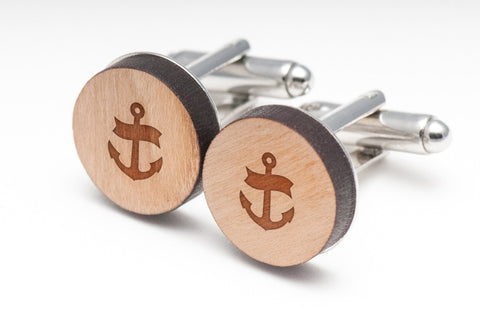 Anchor Navy Wood Cufflinks
