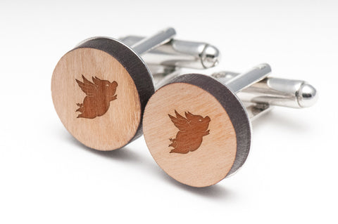 Flying Pig Wood Cufflinks
