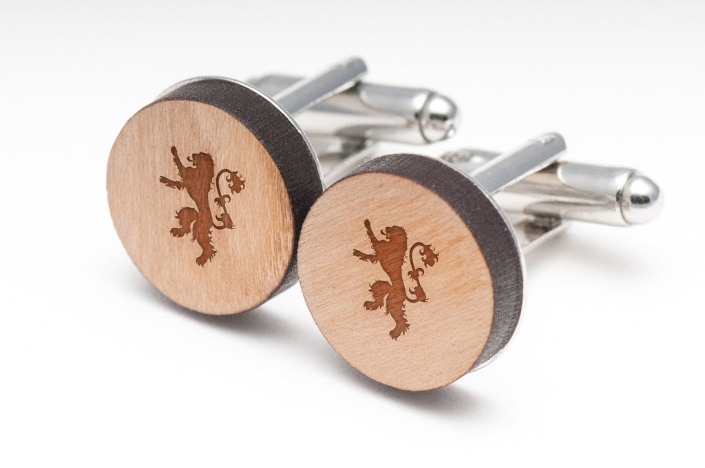 Lion Crest Wood Cufflinks