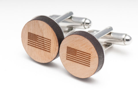 American Flag Wood Cufflinks