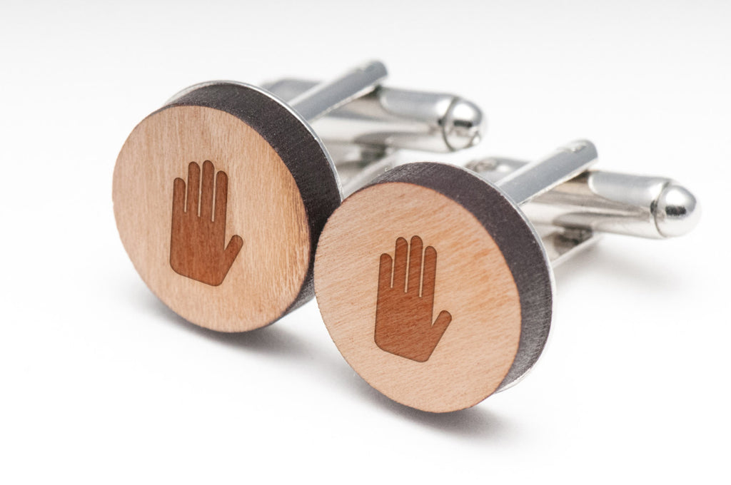 Anatomical Hand Wood Cufflinks