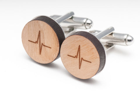Ekg Heart Beat Wood Cufflinks