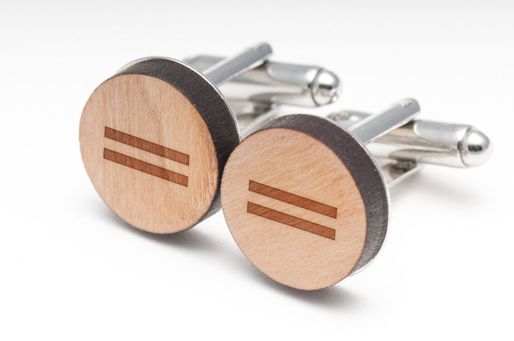 Equal Sign Wood Cufflinks