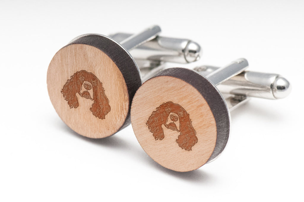 Irish Water Spaniel Wood Cufflinks