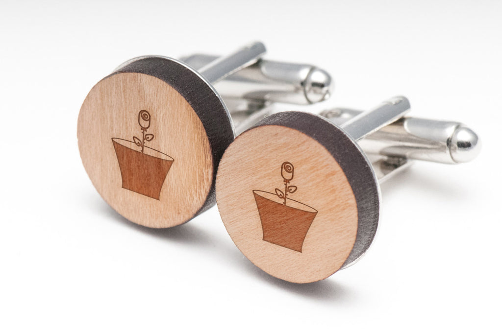 Flower Pot Wood Cufflinks