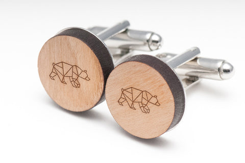 Geometric Bear Wood Cufflinks
